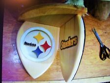 Bobble Heads Steelers corner shelf for collectibles circle & name logos  Pine