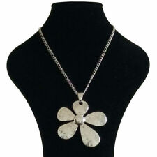 Large Abstract Metal Flower Pendant on Long Curb Chain Necklace Silver Lagenlook