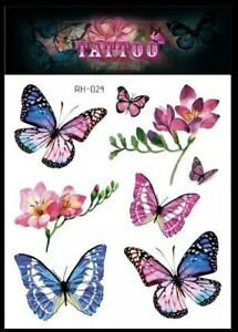 BUTTERFLY & FLOWERS Temporary Tattoos UK Adult Fake body Art Girls Transfers 🌺