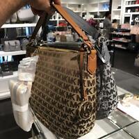 MIchael kors Womens Medium Leather Shoulder Tote Bag Handbag Purse Beige  Grey