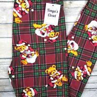 Santa Teddy Bear Plaid Leggings Christmas Holiday Buttery Soft ONE SIZE OS