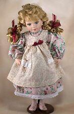 "Collector's Porcelain Doll 15"" Blond Hair Blue Eyes Braids"