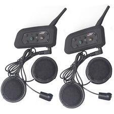 2x BT Bluetooth Interphone Wireless Motorcycle Helmet Intercom 6 Riders 1200M V6