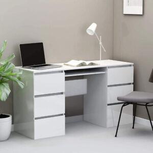 Computer Desk Desktop Laptop PC Table Workstation 6 High Gloss Drawer Office New