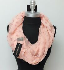 Floral chiffon w/ daisy raised dot Cowl 1-Circle Loop Scarf Wrap Lt Weight Peach