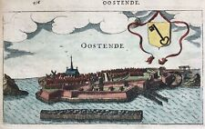 Ostend Belgium 1613 Oostende Dante by Guicciardini / Janssonius antique map