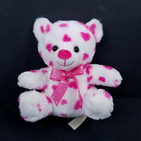 Dan Dee White Pink Heart Bow Teddy Bear Plush Stuffed Animal Valentines Day 7""