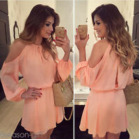 Summer Women Fashion Sexy Shoulder Off Casual Chiffon Blouse Tops Dress Jumpsuit