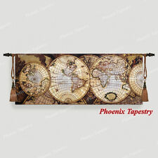 """Map of the World Medieval Fine Art Tapestry Wall hanging, 68""""x27"""", UK"""