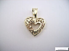 Open Filigree Heart Pendant 24k Yellow Gold Plated with large fancy bale
