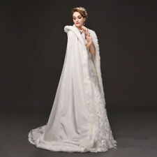 Bridal Winter Warm Long Wedding Cloak Hooded White/Ivory Faux Fur Cape 150cm New