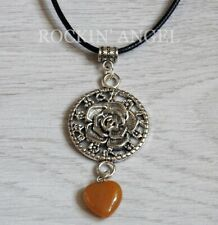 Antique Silver Plt Rose & Yellow Jasper Heart Pendant Cord Necklace Ladies GIft