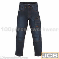 JCB 1945 Denim Mens Work Jeans Trousers Cargo Combat Knee Pad Pockets Cordura