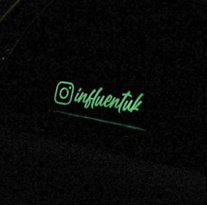 Glow in the dark custom insta page name sticker