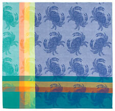 "100% Cotton Aqua Blue & Orange 60""x60"" Jacquard Tablecloth - Crab Shack Blue"