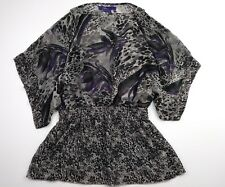 Miley Cyrus Maxazria Womens XL Black Purple Sheer Short Sleeve Blouse