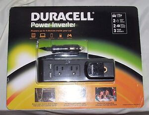 New Duracell 175w Power Inverter 2.1 Amp 2 AC Outlets 2 USB Outlets NIB