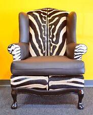 Real Zebra Hide Felt Wingback Chair