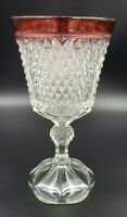 Indiana Glass Diamond Point Ruby Red Footed Urn Huge Gothic Wine Glass Chalice
