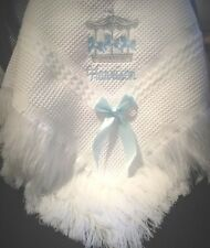 Personalised Baby Blanket  shawl christenings Newby   CAROUSEL DESIGN Any colour