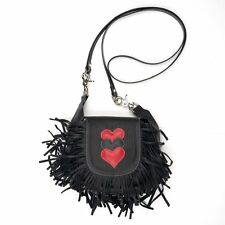 Genuine Leather Belt Bag - Hip Purse - Black Fringe & Red Hearts - USA Made