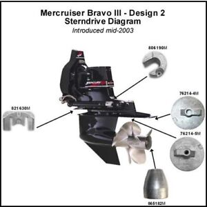 Mercruiser Bravo III  3 Aluminum Anode Kit NEW DEALER DIRECT Military Grade