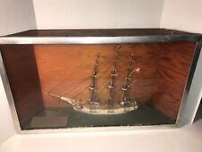 Antique Vintage Hand Crafted Three Mast Sailing Ship Model and DioramaHalf Hull