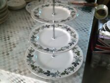 royal doulton cake stand with BURGUNDY designe plates, full size,dinner/tea set