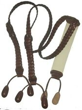 Trafalgar brown braided narrow leather button on suspenders