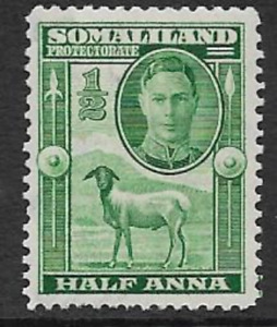 SOMALILAND PROTECTORATE MINT DEFINITIVE 1938 STAMP KING GEORGE V1 GREEN 1/2A