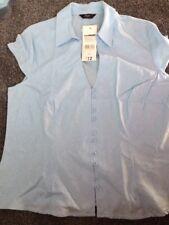 F&F Ladies Linen Blue Blouse Size 20 NEW