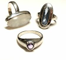 925 STERLING SILVER Blue SPINEL, Purple AMETHYST & MOONSTONE Rings, 16.58g - Y96