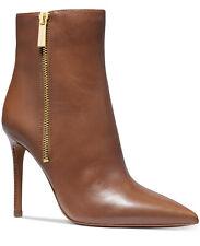NIB Size 7  Michael Kors Keke Luggage Tan Leather Zip Bootie Boots