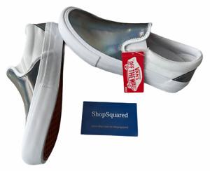 Vans Slip On Pro (Iridescent) True White Silver Women's Size 9 New NIB Fast ⭐️