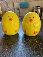 Vintage Ceramic Yellow Baby Chick Easter Egg Salt & Pepper Shaker Shakers Set