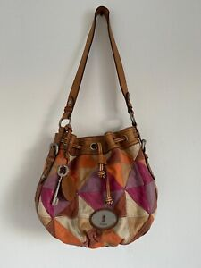 Fossil women's  100% leather patchwork colorful bucket bag