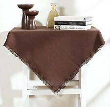 """BURLAP CHOCOLATE TABLE CLOTH / TOPPER 60X80"""" FRINGED COTTON WOVEN INTO BURLAP"""