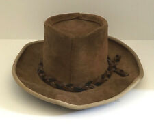 VNTG HENSCHEL HATS SKULLYS BROWN SUEDE & COWHIDE LEATHER OUTBACKER BUSH HAT USA