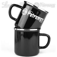2 x Trinkbecher Petromax Emaille Geschirr Kaffee Camping schwarz-Edelstahlrand
