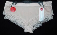 Marilyn Monroe Panty Size XL Pink Nylon Solid 2 Pack Lace Trim Hipster Womens
