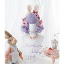 Purple Mixed White Wig Daily Harajuku Lolita Cosplay Short Curly Hair Hairpieces