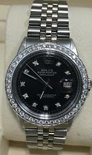 Rolex mens Black diamond Dial & Diamond  Bezel 36mm Date just automatic watch