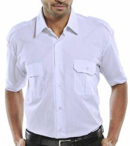 "White short sleeved pilot shirt collar size 16 inch / 41cm chest size 42""/107cm"