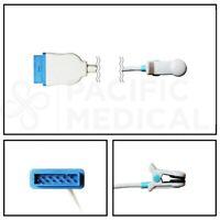 GE Marquette Nellcor OxiMax Ear Clip SpO2 Sensor 11 Pin Cable - 10FT/3M