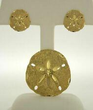 14K Yellow Gold Sand Dollar Earrings Pierced and Sand Dollar Slide Pendant