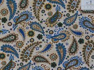 15,45€/m² => 25cmx110cm: PAISLEY - Ivory / Blau - allover Patchworkstoff