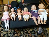 Lot of (6) Vintage Baby Dolls... + 2 bonus little babies Nice!