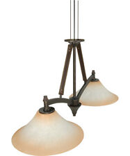 Golden Umber Dimmable LED Chandelier/Island Light With Burnt Sienna Glass