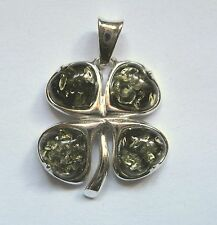 Sterling Silver Green Amber Four leafed clover Pendant 4.35g