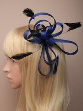 Bleu marine boucle filet ruban & plume sur clair peigne bleu foncé fleur